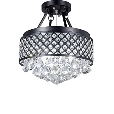 Broadway Black Classic Crystal Chandeliers Modern Lamps Pendant Light Ceiling Fixture BL-AAI BK4 W14 X H16 Inch