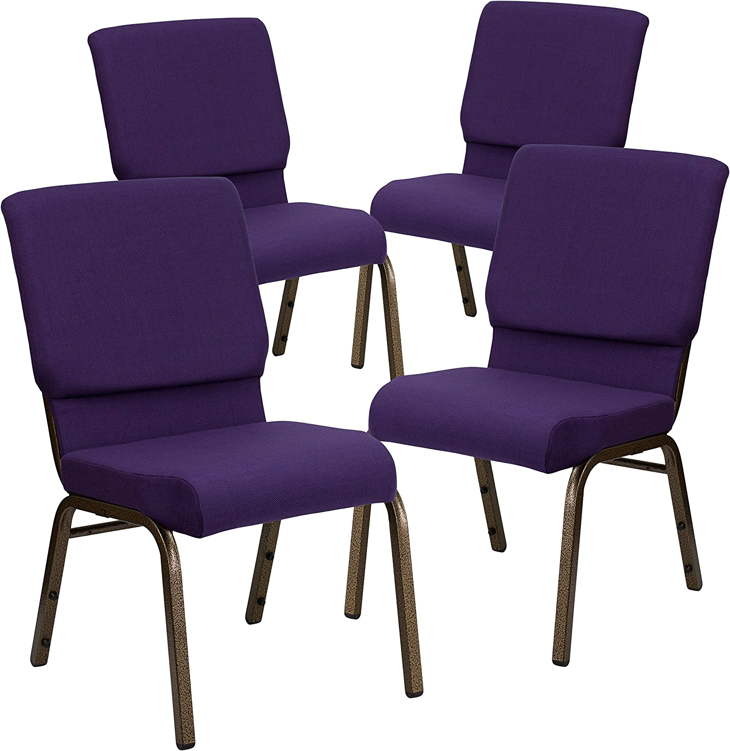 Flash Furniture 4 Pack HERCULES Series 18.5''W Stacking Church Chair in Royal Purple Fabric - Gold Vein Frame