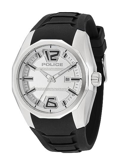 Police PL.94764AEU/01 - Reloj de cuarzo para hombres con esfera blanca y correa negra de silicona: Amazon.es: Relojes
