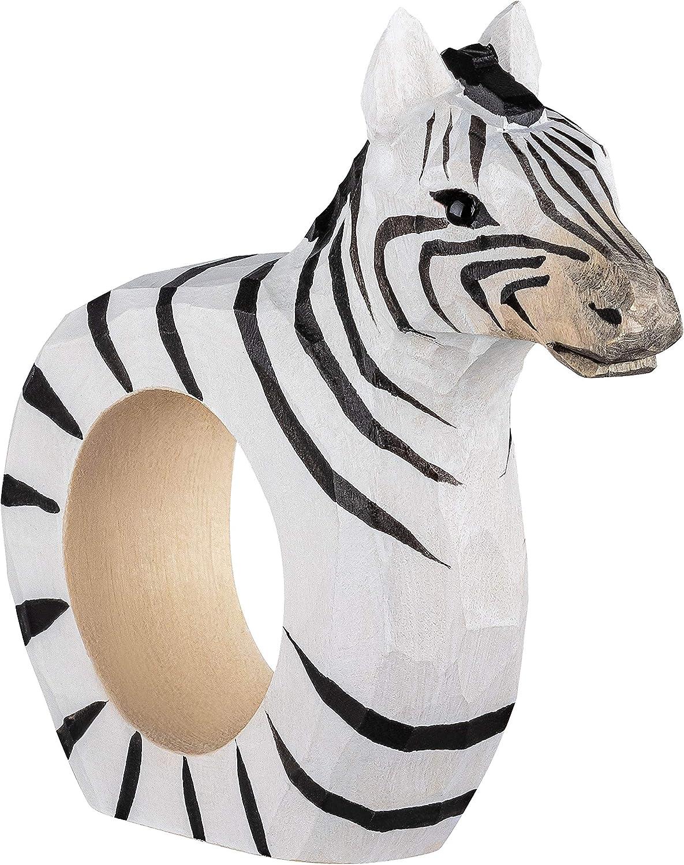 Cebra y Jirafa Mundo Animal de /África: Le/ón your castle Juego de 3 Servilleteros Aprox 9 x 7 x 2 cm Tallados y Pintados a Mano en Madera
