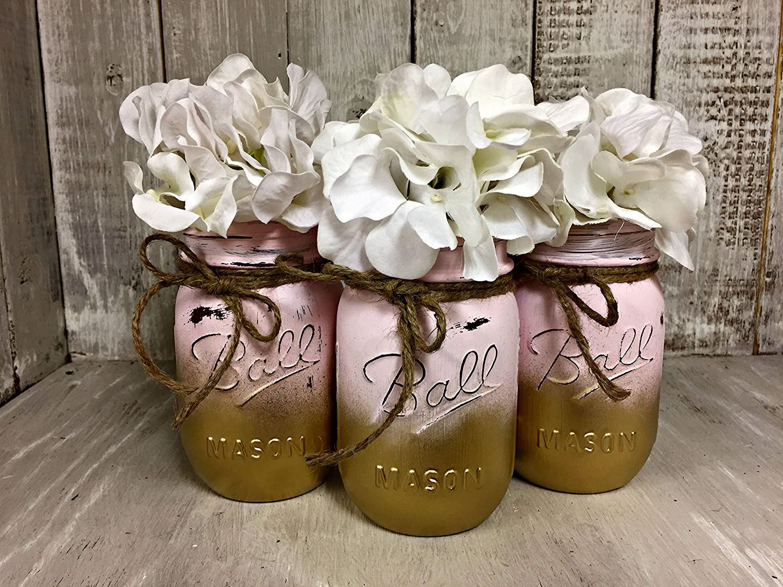 Farmhouse Decor Nursery Decor Painted Mason Jar Rustic Wedding Vase Centerpiece Painted Mason Jar Decor Set of 3 FREE Ship Burlap Bowtique Pink and Gold Mason Jars
