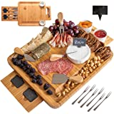 Frux Natural Bamboo Cheese Board and Knife Set. Wood Charcuterie Board Set is Ideal Serving Tray for Cheese, Meat, Crackers a