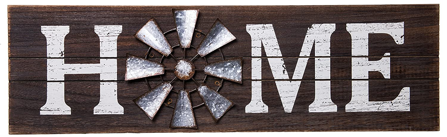 Home Windmill Wood Rustic Sign - Country Home Wall Décor - 23.5 x 7 Inches