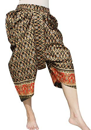 287a8187b Amazon.com: RaanPahMuang Sukhothai Traditional Batik Cotton JonGrabaen Thai  Pants: Clothing