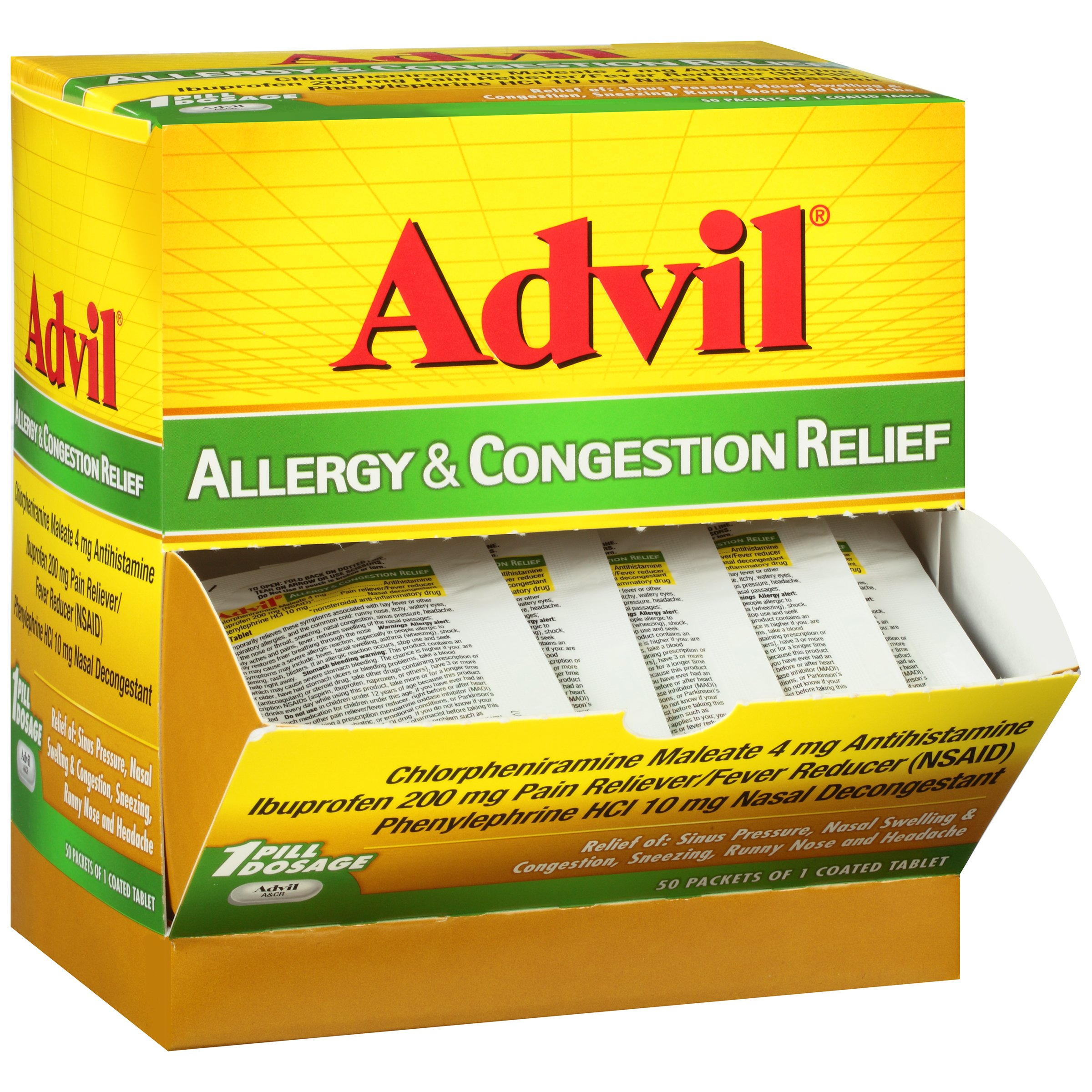 Advil Allergy & Congestion Relief (1 Dispenser of 50 Packets, 2 Count per Packet) Pain Reliever/Fever Reducer by Advil