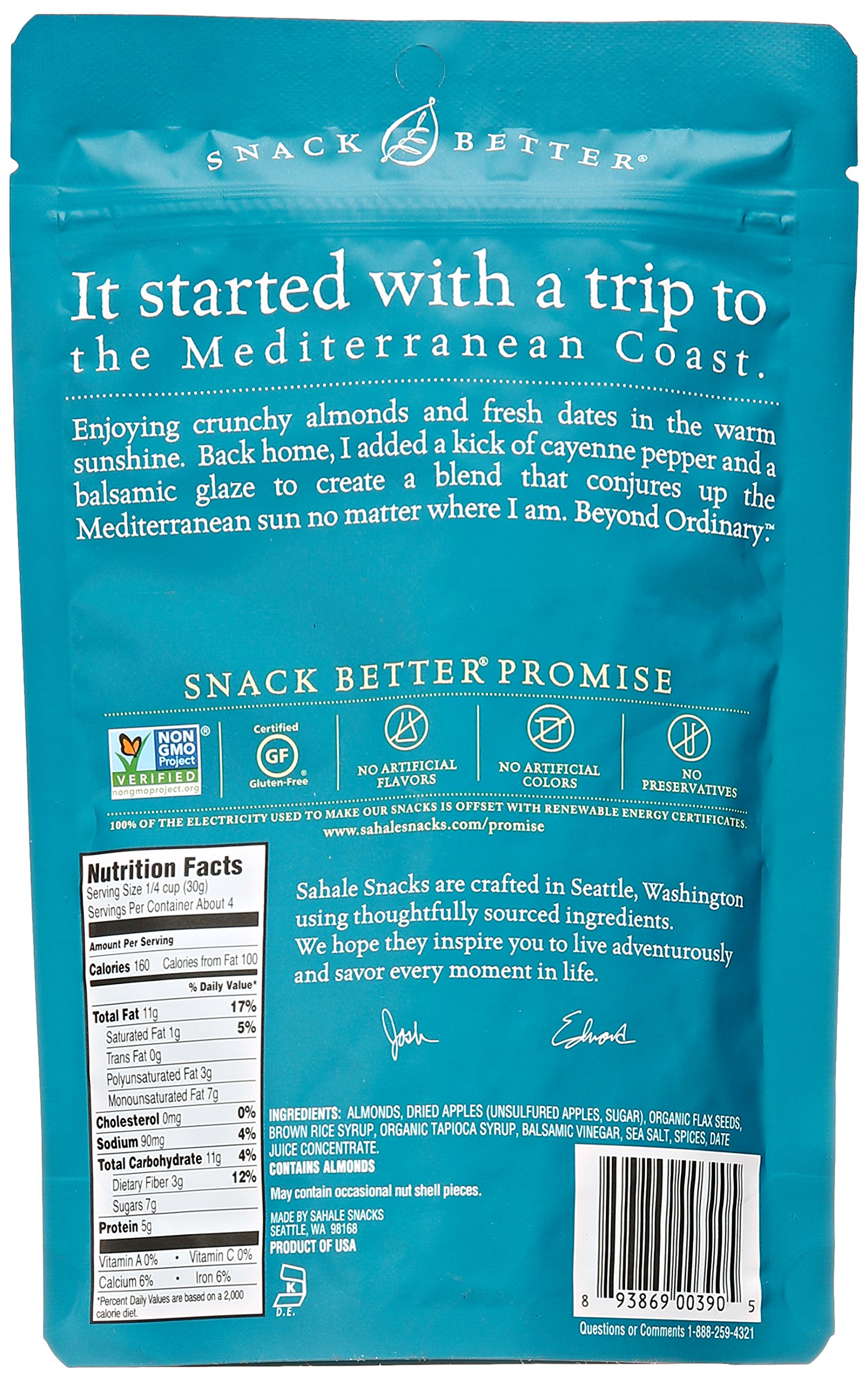 Sahale Snacks Balsamic Almonds Glazed Mix, 4 oz. - Nut Snacks in a Grab 'n Go Pouch, No Artificial Flavors, Preservatives or Colors, Gluten-Free Snacks 4 BETTER EVERYDAY SNACKING - When you're on the go to your next adventure, finding the perfect snack can be difficult. But with Sahale balsamic almonds glazed nuts snacks, you'll always have a delicious and wholesome option to stay energized and satisfied. PERFECT BALANCE - These nut snacks feature the perfect blend of whole dry-roasted almonds, dried apples, flax seeds, a pinch of cayenne pepper and it's all finished with a rich, subtly tart balsamic glaze. RESEALABLE POUCH -  The nut mix snacks are in a resealable pouch that helps keep them fresh, so you can enjoy a delicious nut mix in your home, office and more.