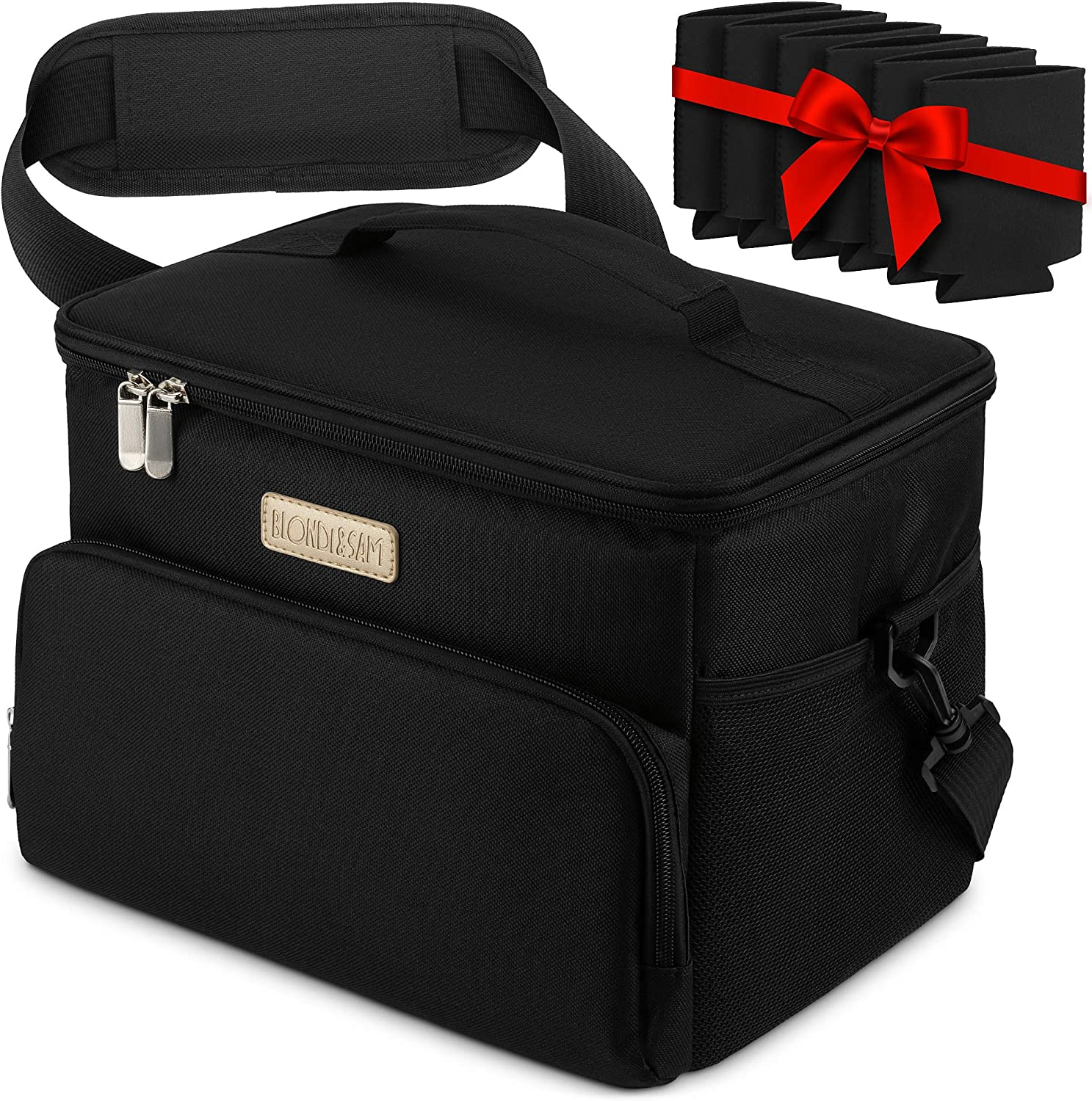 Insulated Cooler Bag with Zipper Closure, Shoulder Strap, 6 Drink Sleeves – Leak- and Water-Proof Collapsible Lunch Bag with Interior and Exterior Pockets by BLONDI&SAM, Black, 11x8.3x9 In.