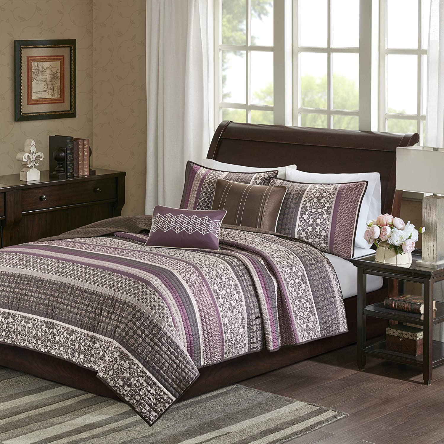 Madison Park Princeton Reversible Jacquard Woven Flower Floral Botanical Medallion Stripes Texture Down Alternative All Season Coverlet Quilts Bedding-Set, Full/Queen, Purple/Brown