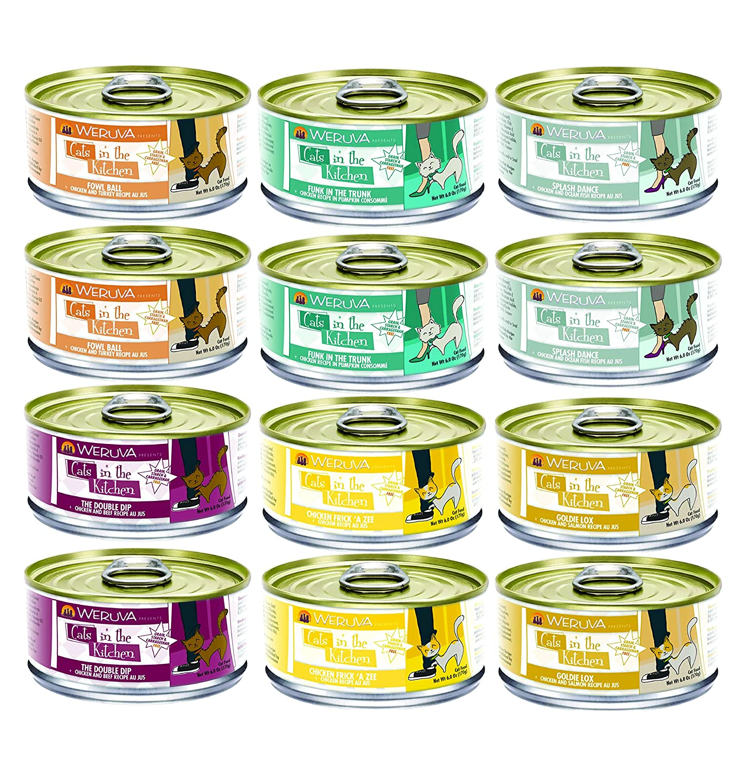 Weruva Cats In The Kitchen Canned Cat Food Mixed 6 Oz X 12 Cans With 6 Flavors