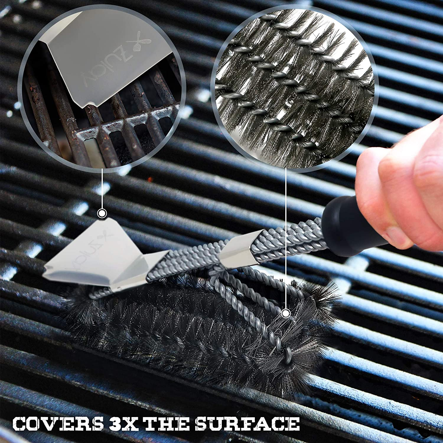 Heat Boss Grill Brush and Grill Scraper, 3 Rows of Reinforced Stainless Steel Bristles, Best Heavy Duty Grill Cleaner Safe for All Grill Types, Long ...
