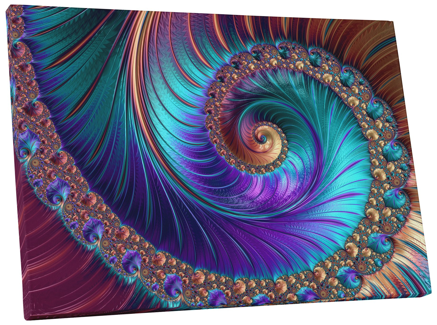 Pingo World 0719QSRRTTA ''Peacock-esque Spiral Abstract'' Gallery Wrapped Canvas Wall Art, 30'' x 45'' by Pingo World