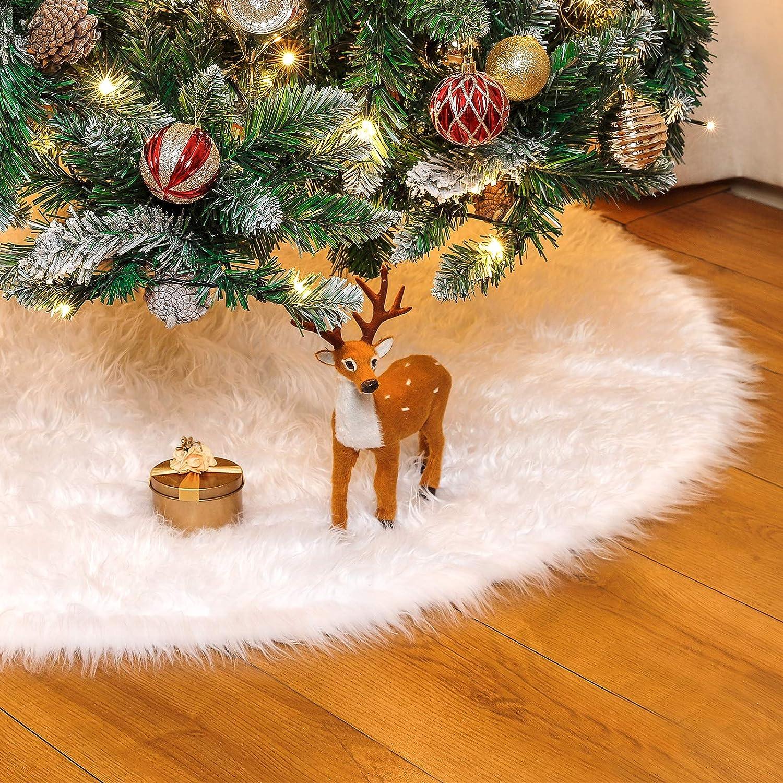 Yorbay Decoración de Navidad, Falda del árbol de Navidad Blanco Christmas Tree Skirt Felpa de Cubierta de la Base del árbol de Navidad (Blaco, 120)