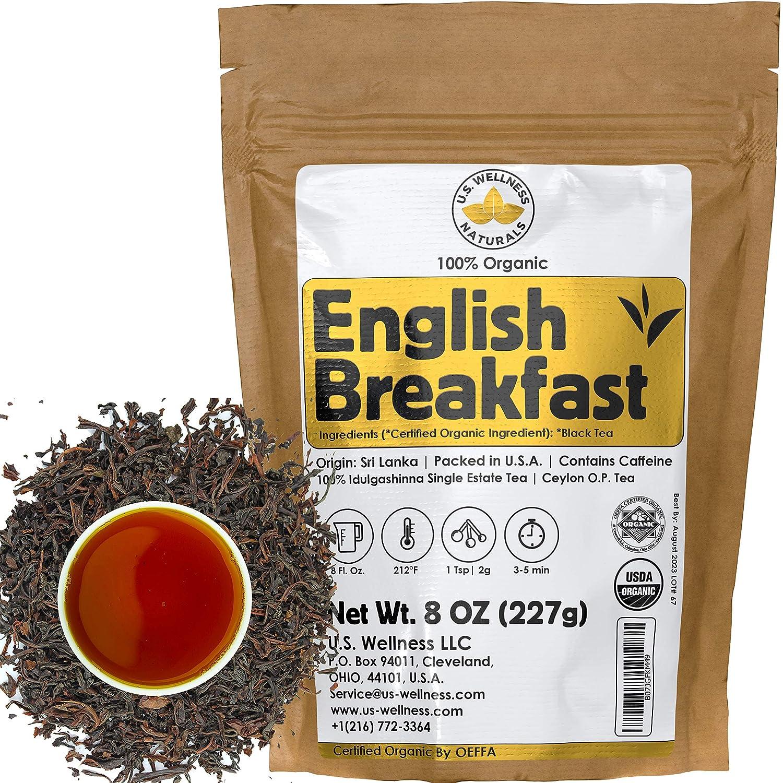 English Breakfast Tea, CRISP, RICH & AROMATIC well-rounded loose leaf tea, 110+ cups, 8oz Organic Ceylon SINGLE ESTATE tea