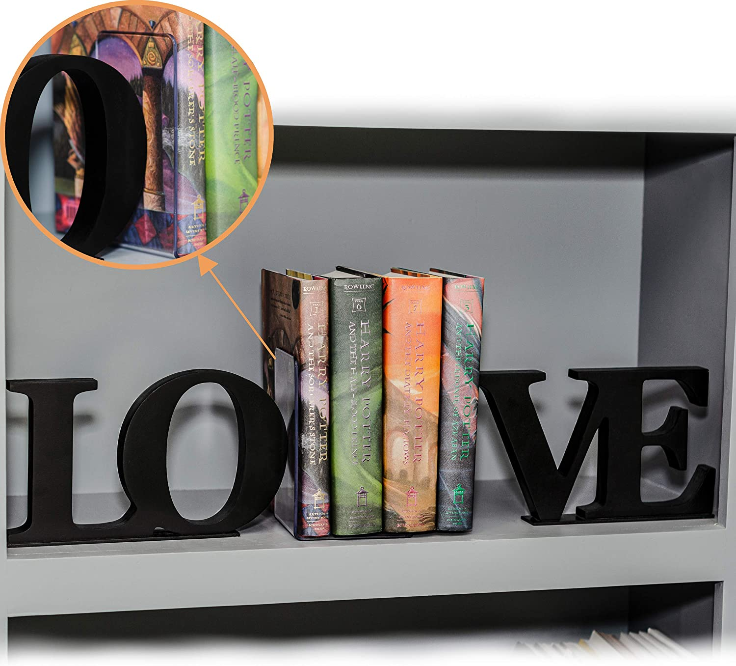 /  Desk and Book Shelf Decorations and Organizers Love Wood Book Ends Set with Plastic L Shaped Book Ends for Heavy Books 2 Pair Black Book Holders/  LongStep Decorative Love Bookends for Shelves
