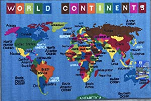 Kids Area Rug World Continent Map Reversible Learning Carpet Game Time Design 7 (7 Feet 9 Inch X 10 Feet)