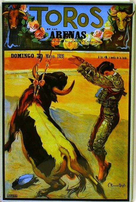 Cartel Póster publicitario de Chapa metálica con diseño Retro Vintage de Catalunya/España. Tin Sign. 30 cm x 20 cm (Plaza DE TOROS Las Arenas BANDERILLERO): Amazon.es: Hogar