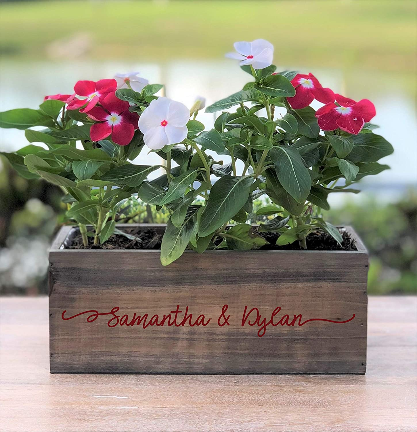 Personalized Wood Planter Box ~ Couples Names ~ Gift for Couple ~ Wedding Centerpiece