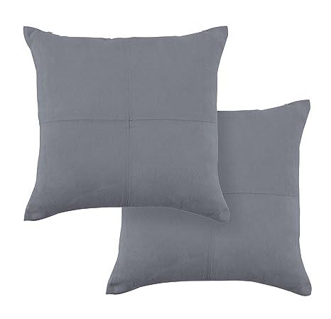 PimpamTex Cojines para decoración de sofá, salón o Dormitorio. Pack de 2 Unidades. Modelo Ante (45x45 cm) (Gris Marengo)