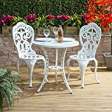 Traditional Cast Aluminium Cafe Bistro Outdoor Garden Furniture Table & Chairs Set - White