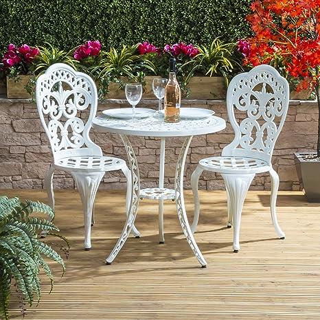 Tavoli Da Giardino In Ghisa.Set Da Giardino Bistro Tavolo 2 Sedie Verde In Alluminio E Ghisa