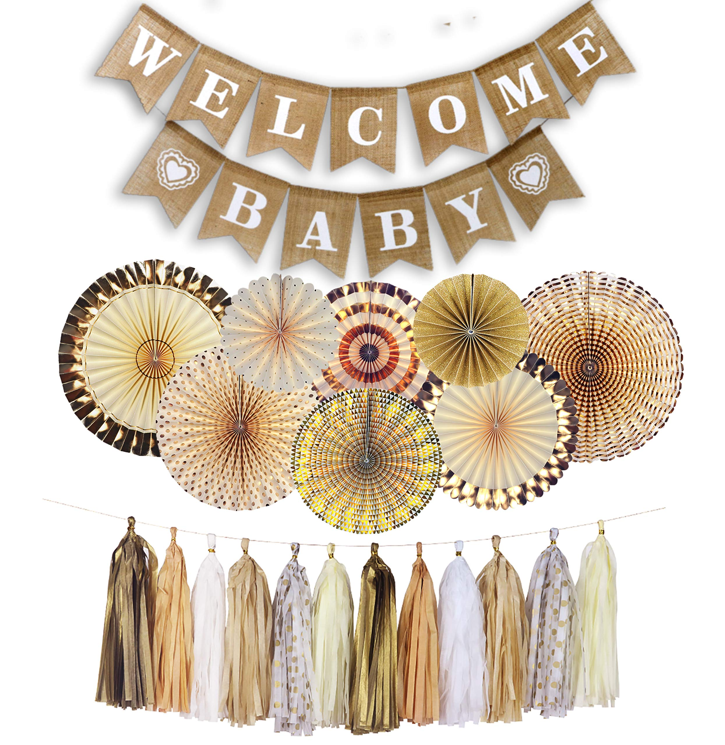 YARA Neutral Baby Shower Decorations for Coed, Unisex, Boy or Girl, Rustic Welcome Baby Banner in Burlap, Tassels, Gold and White Gender Neutral Baby Shower Decor Set, Gold Paper Fans Decorations by Yara Enterprises (Image #2)