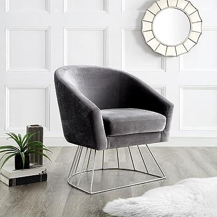 Amazoncom Adalene Grey Velvet Accent Chair Silver Metal Base