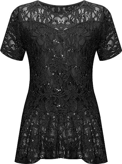 f1c2a7c9291f61 WearAll Plus Size Women's Lace Sequin Peplum Top - Black - US 10 (UK 14