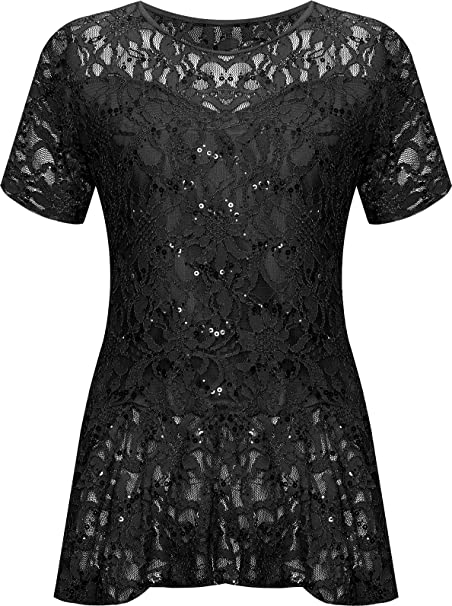 613165bec58 WearAll Plus Size Womens Lace Sequin Ladies Short Sleeve Peplum Frill Top -  14-28  Amazon.co.uk  Clothing