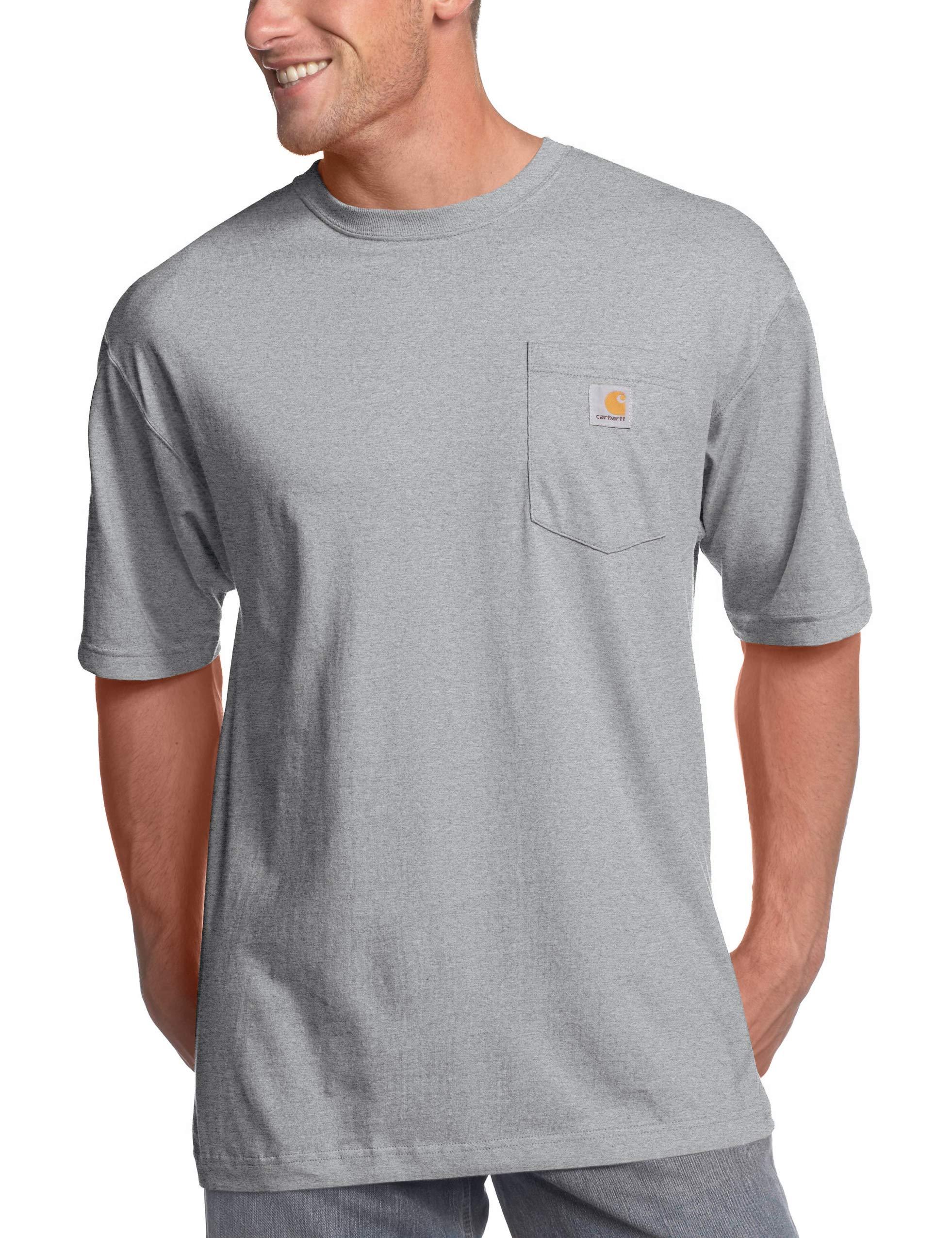Carhartt Men's K87 Workwear Short Sleeve T Shirt (Regular and Big & Tall Sizes), Heather Grey, 4X Large