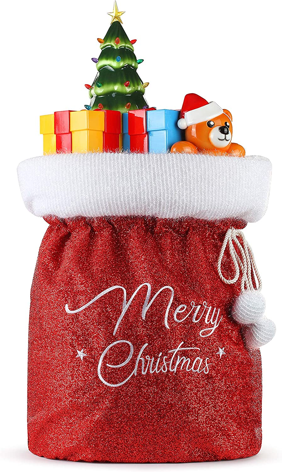 Amazon Com Mr Christmas Fabric Santa Bag With Blow Mold Toys Christmas Decor Red Home Kitchen
