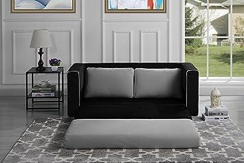 Divano In Memory Foam.Amazon Com Divano Roma Furniture Modern Sofas Black Light Grey Furniture Decor