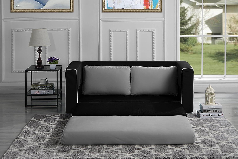 Amazon.com: Divano Roma Furniture Modern 2 Tone Modular/Convertible Sleeper  (Black/Light Grey): Kitchen U0026 Dining