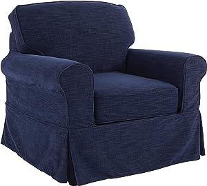OSP Home Furnishings Ashton Slipcover Round Arm Chair, Navy