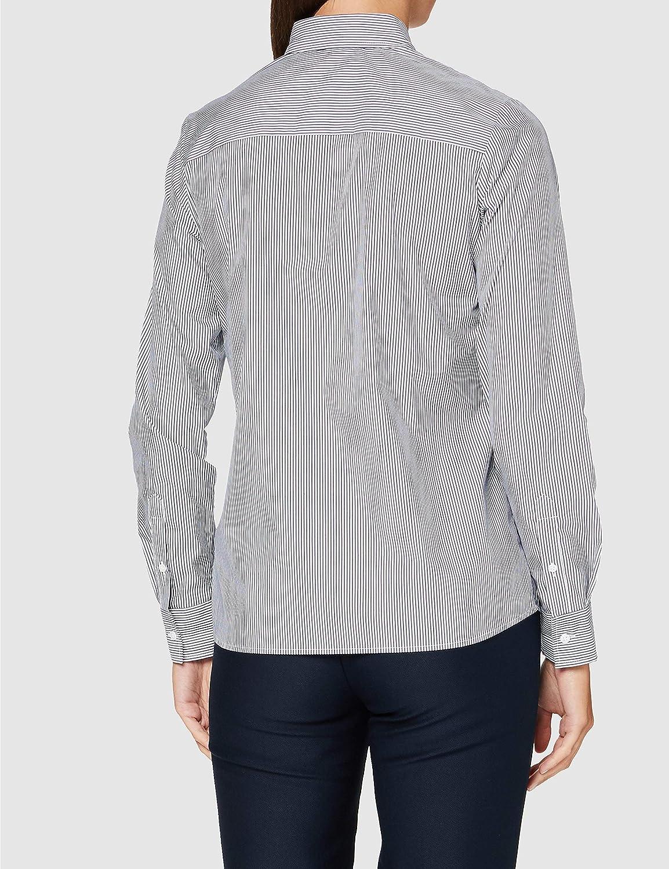 Silkesklistermärke dam blus – City Blus – skjortblus med skjortblusbrosch – Slim Fit – lång ärm – stretch marinblå