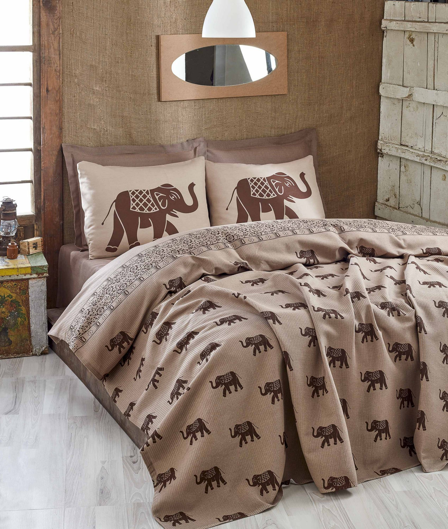 LaModaHome Big Animals Coverlet, 100% Cotton - Elephant with Saddle in The Back, Modern, Brown - Size (78.7'' x 92.5'') Use in The Summer, Thin Coverlet (Pique) for Full and Double Bed