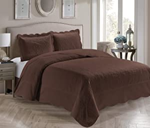 Better Home Style 3 Piece Luxury Ultrasonic Embossed Solid Quilt Coverlet Bedspread Oversized Bed Cover Set # Veronica (Full/Queen, Coffee/Brown)