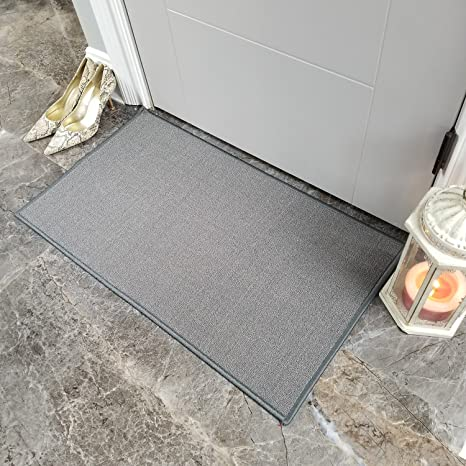 Maxy Home Doormat 18x30 Solid Gray Rubber Backed Non Slip for Any Room,  Kitchen Rugs and Mats, Washable, Made in Europe