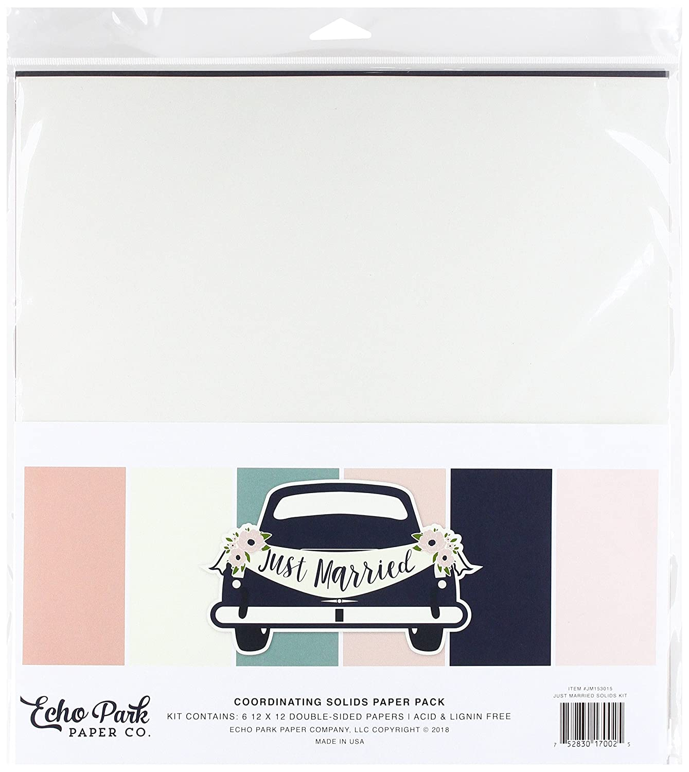 Coral Teal Gold Pink Echo Park Paper Company JM153015 Just Married Solids Kit Cream Navy