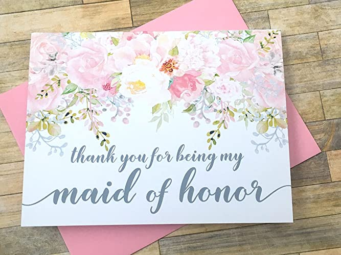 Amazoncom Thank You For Being My Maid Of Honor Blush Watercolor