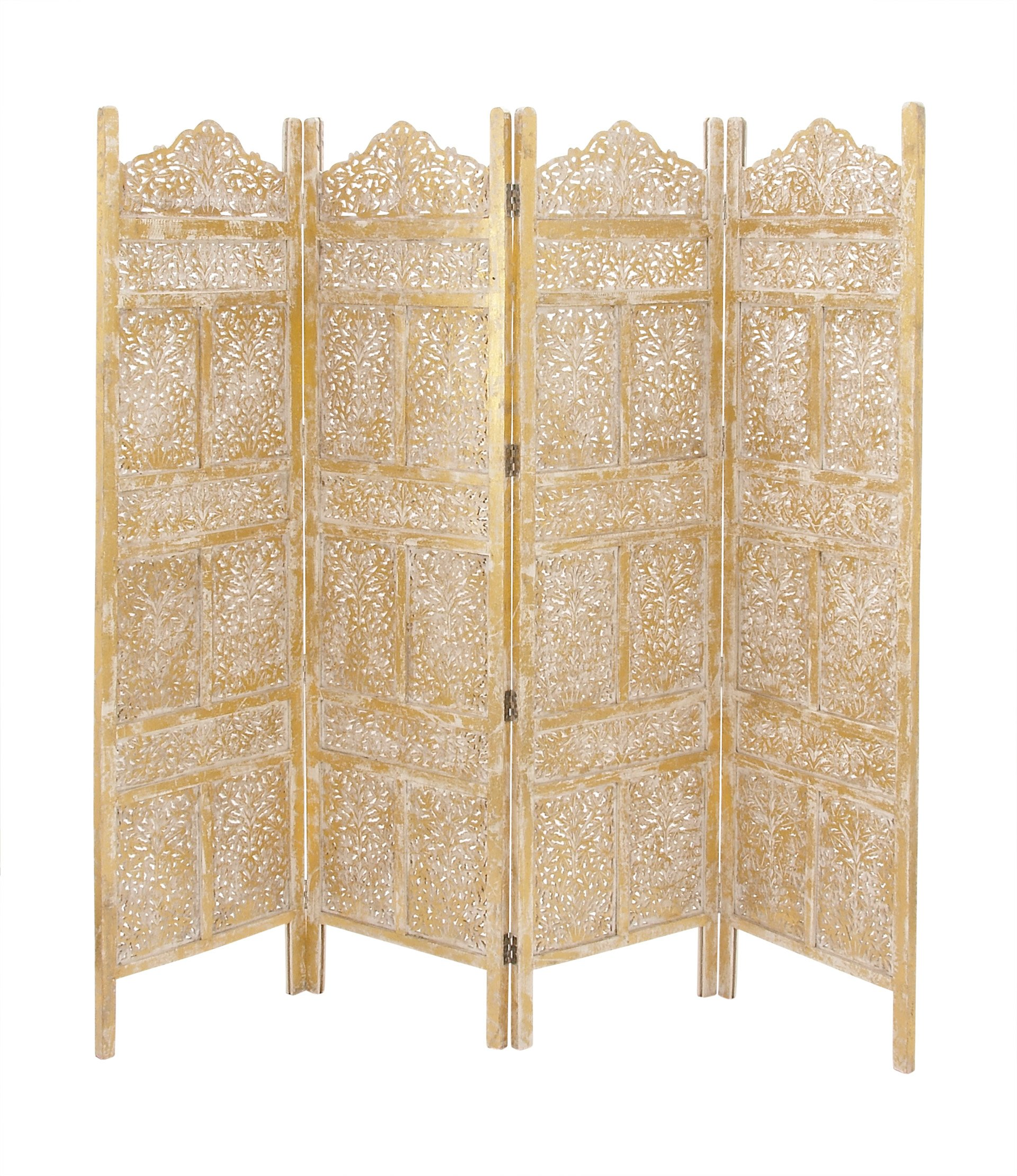 Deco 79 96060 Wood Gold 4 Panel Screen, 80'' x 71''