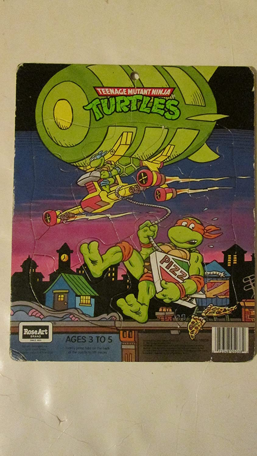 Teenage Mutant Ninja Turtles - Leonardo & Michelangelo with the Turtle Blimp - 12 Piece Frame Tray Puzzle (1990)