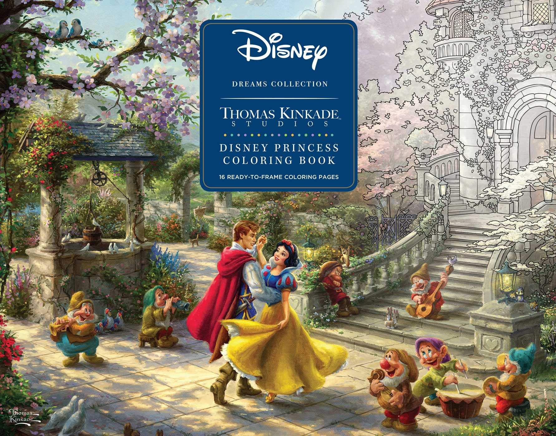 Amazon Com Disney Dreams Collection Thomas Kinkade Studios Disney Princess Coloring Poster Book 0050837423923 Kinkade Thomas Books