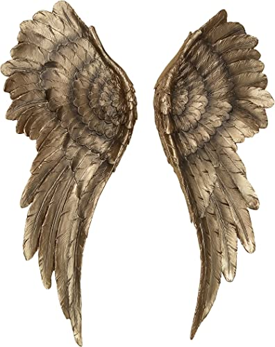 WHW Whole House Worlds Decorative Grand Angel Wings, 2 Piece Set, Vintage Style, Antique Golden Gilt, Artisinal Design, Hand Crafted, Bas Relief Sculptures, 21 3 4 H