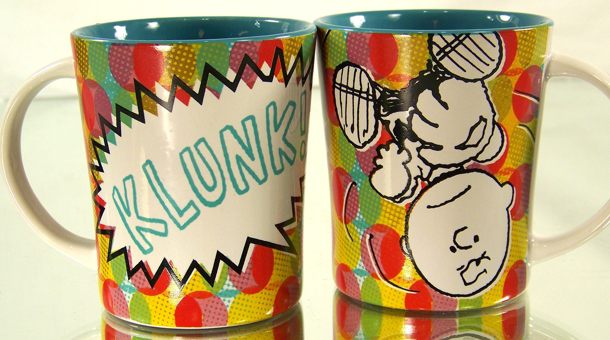 Peanuts Charlie Brown Klunk! 14 Oz Multicolor Teal Interior Ceramic Coffee or Cocoa Mug 2 Pack