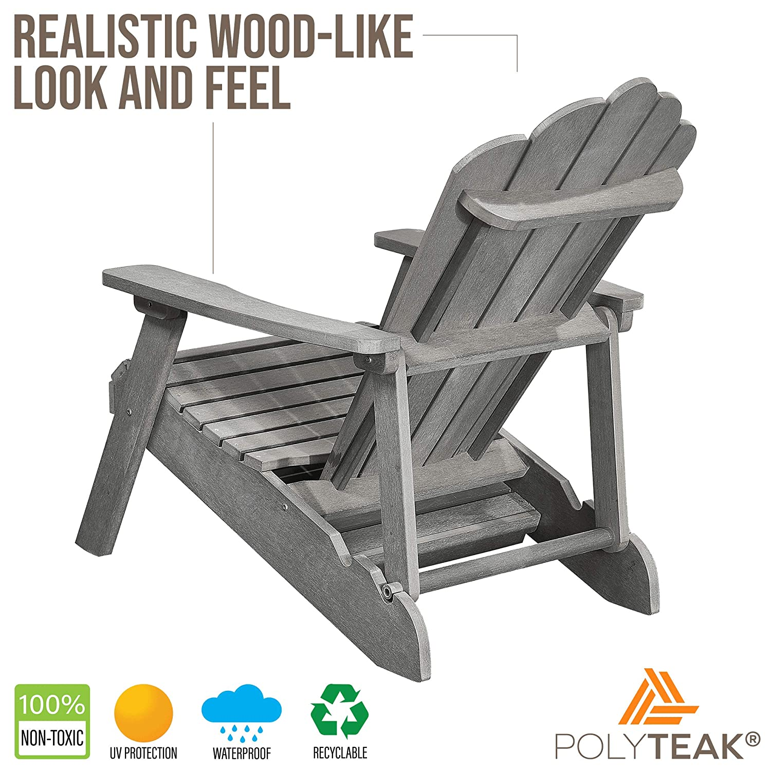PolyTEAK Deluxe Oversized Reclining Poly Adirondack Chair with Pullout Ottoman, Stone Gray Adult-Size, Weather Resistant, Made from Plastic