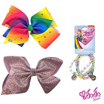 JoJo Siwa pastel pink tie dyed bow with rhinestones and sequin knot