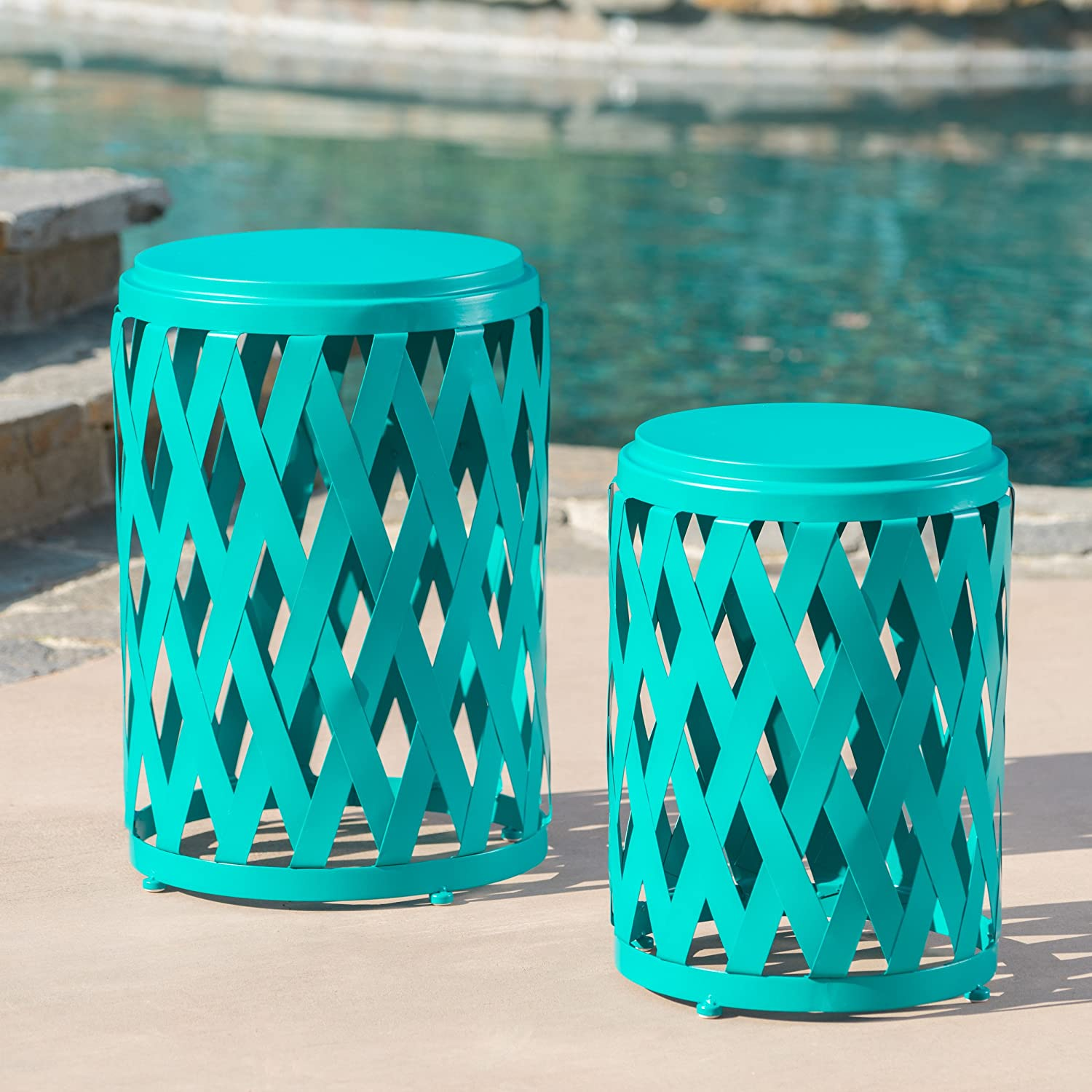 Ellen Nestable Outdoor Small and Large Nested Iron Side Table Set Set of 2 Matte Teal