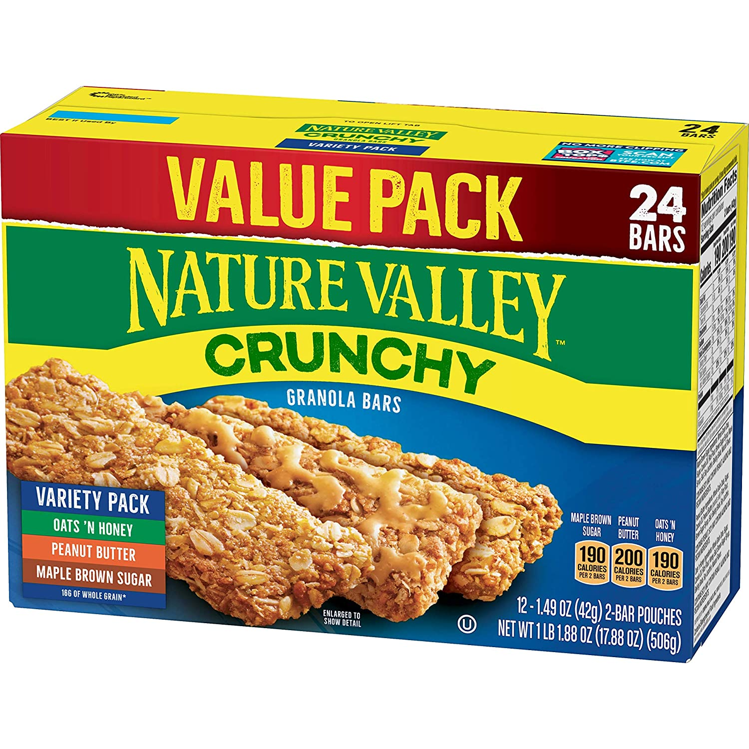 Nature Valley Granola Bars, Crunchy, Variety Pack of Oats 'n Honey, Peanut Butter, Maple Brown Sugar, 12 Pouches, 2-Bars Per Pouch (Total 24 Bars)