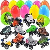 JOYIN 12 Pack Jumbo Easter Eggs with Prefilled Animal Pull Back Cars Easter Basket Stuffers Easter Party Favors for Kids