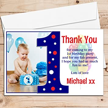10 personalised boys first 1st birthday party thank you photo cards 10 personalised boys first 1st birthday party thank you photo cards n191 bookmarktalkfo Image collections